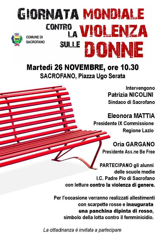 sacrofano martedi 26 novembre una panchina rossa contro la violenza sulle donne il nuovo magazine violenza sulle donne